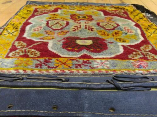 """Pre-1900s Vegy Dyes 1'6""""x4'4"""" Wool Pile Leather Covered Donkey Bag Sivas Region"""