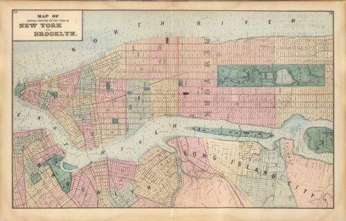 1872 antique map poster Beers Genealogy New York Brooklyn 22