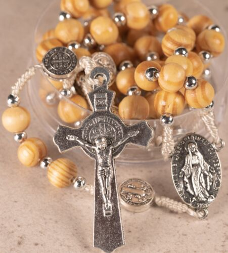 Rosary Wooden Beads StBenedict Crucifix Miraculous Medal 3-in-1 devotion NO CASE