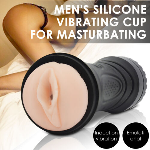 Vibrating Pocket Pussy For Mens Masturbation Cup Silicone Vagina Adult Sex Toy