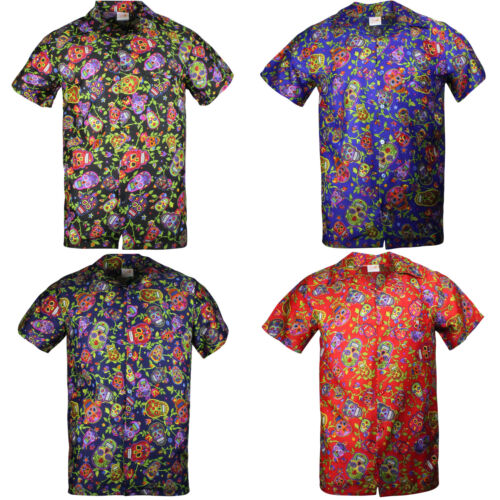 HAWAIIAN SHIRT MENS STAG BEACH SUGAR SKULL STAG PARTY HALLOWEEN LARGE  S XL XXL  <br/> KIDS SIZE TO 5XL - 4 COLOURS **UK SELLER**FAST DISPATCH