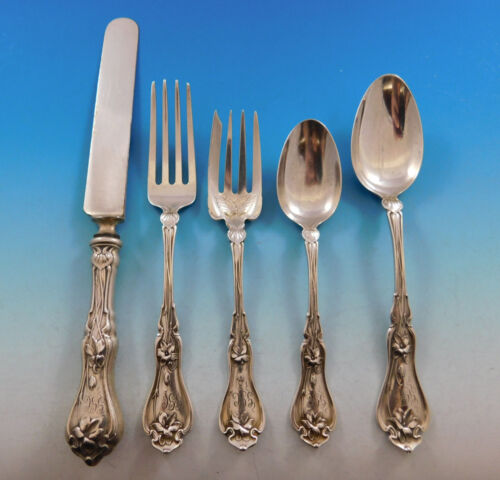 Violet by Whiting Sterling Silver Flatware Set For 8 Service 40 Pieces