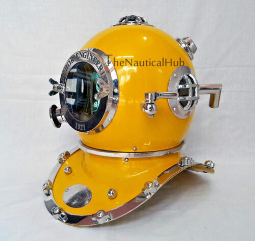 "DIVERS HELMET Material :Solid Steel & brass Size : 18"" Full Size  Top head measu"