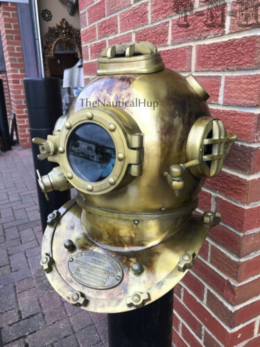 Antique Brass Scuba Marine Diving Divers Helmet US Navy Mark V Full Size 18 MET