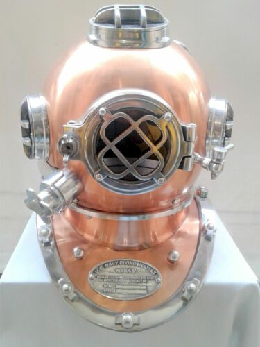 SOLID STEEL & BRASS MEDIUM SIZE HIGHLY POLISHED US DIVING DIVER'S HELMET MK V