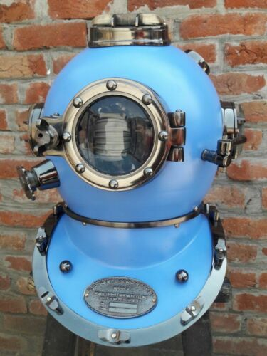 Antique BLUE Full size Divers Diving Helmet Scuba US Navy Mark V Christmas Gift