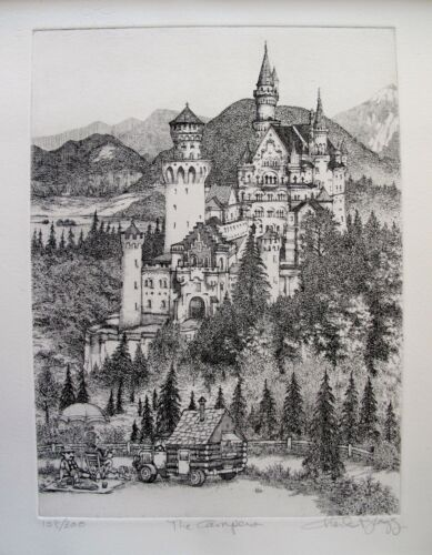 """CHARLES BRAGG """"THE CAMPERS"""" Hand Signed Limited Edition Art Etching RARE!"""
