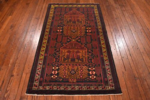 Afghan Balouch Rug, 4'x6', Black/Gold, All wool pile