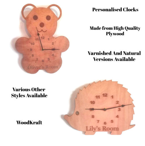 Personalised Wooden Plywood Clocks Childrens Adults Bear Hedgehog Bedroom Play