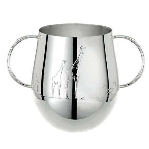 Savane by Christofle Paris Silver Plate Baby Toddler Tumbler Cup w/ Handles New