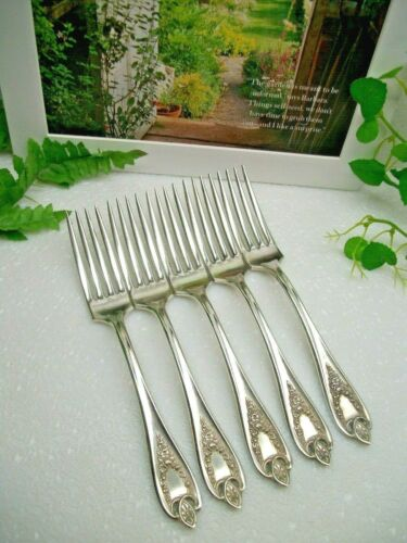 """5    International  1847 Rogers  OLD COLONY  Silverplate  7 1/2""""   Dinner Forks"""