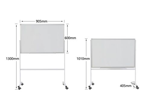Double Sided Mobile Magnetic Whiteboard 90x60cm with FREE GIFTS