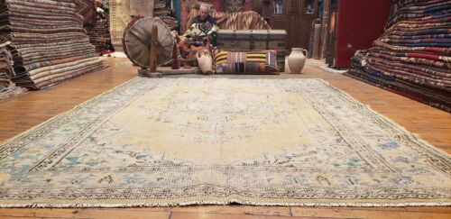 "Primitive Antique 1900-1939's Muted Natural Dye Wool Pile Oushak Rug 6'2""x8'7''"