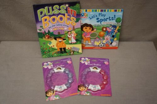"""DORA THE EXPLORE (2) Cool  Teether (2) Books Lot of 4 """"See Below"""" ALL NEW"""
