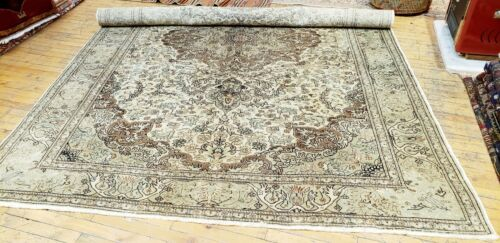 Exquisite1900-1939s Antique Pistachio Green Wool Pile Armenian Hereke Rug 7x10ft
