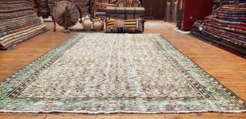 """Primitive Antique Cr1900-1939's Muted Natural Dye Wool Pile Oushak Rug 5'5""""x9'2"""""""