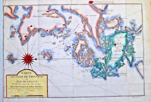 👍 1757 HAND COLORED BELLIN MAP OF CHINA ZHOUSHAN ISLANDS 舟山古西洋地图
