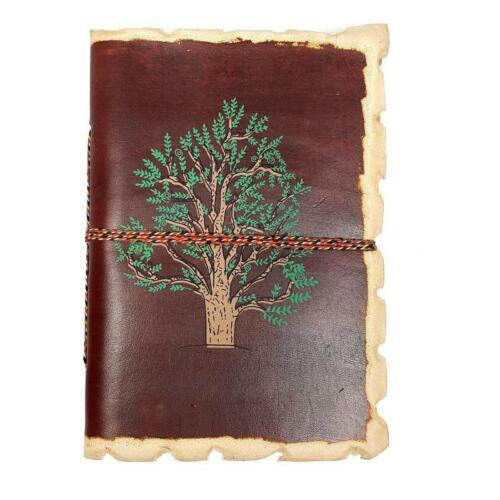 Handmade  Leather Travel Journal Tree of Life  Painted Cover Cotton Paper