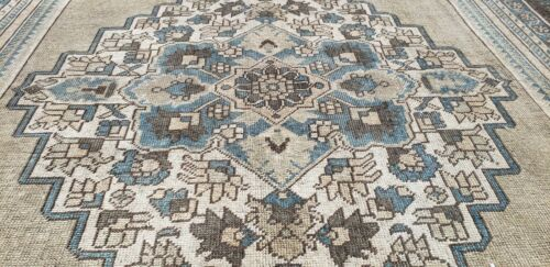 """Outstanding Vintage 1950-1960's Muted Natural Dye 6'4""""× 11' Wool Pile Oushak Rug"""