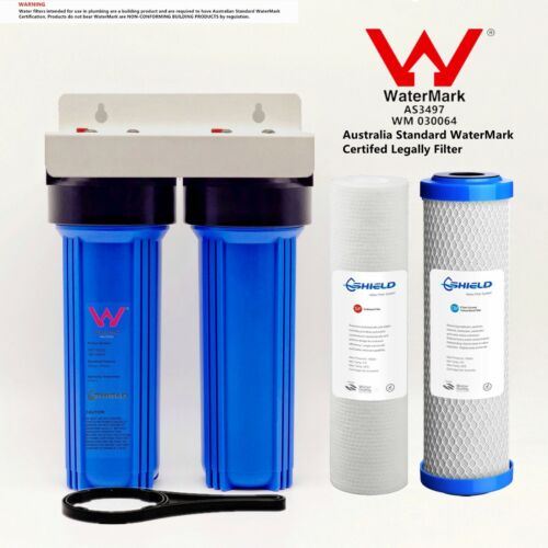 """Twin Whole House Water Filter System 2 Stages 10"""" x 2.5"""" Brass Port  WaterMark"""