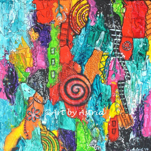 Koru colourful ink intuitive playful intuitive- Original Painting by Astrid