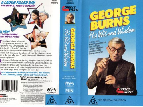 GEORGE BURNS - HIS WIT AND WISDOM-VHS-PAL-NEW-Never played!! Original Oz Release