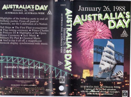 AUSTRALIA'S DAY January 26, 1988-VHS-PAL -NEW -Never played!-Original Oz release