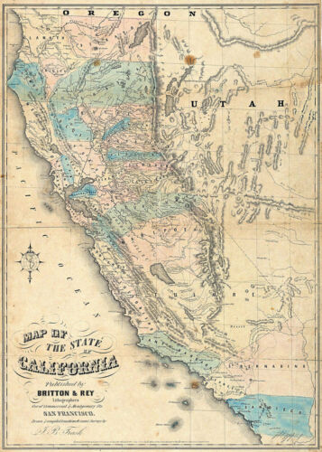 1853 California Gold Rush Map Geological Survey Mining Fields Mines Wall Poster