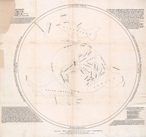 1878 Flat Earth Map As a Plane Middleton's Pioneer Map Projection Poster Print
