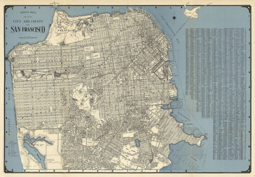 Early San Francisco City & County Wall Map Poster Vintage History Home Office