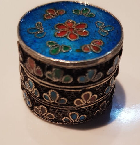RARE SMALL CHINESE SILVER CLOISONNE ENAMEL OPIUM OR PILL CANISTER JAR BOX