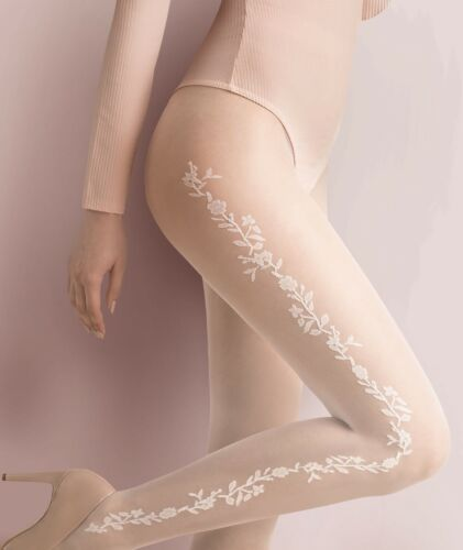 Bridal Patterned Wedding Tights 20 Denier  White Pantyhose by Gabriella