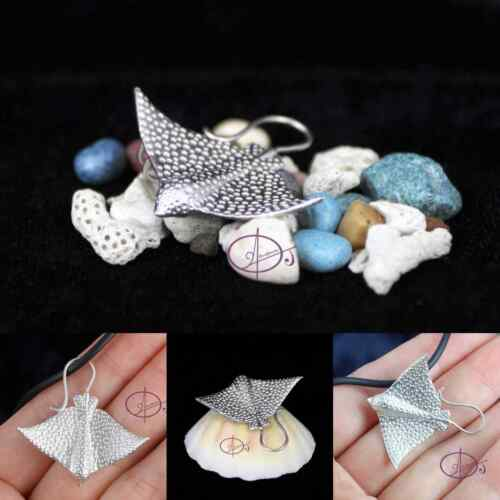 Solid Sterling Silver 3D Spotted Eagle Ray Pendant Necklace Scuba dive Sealife