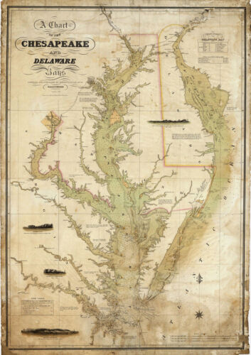 1840 Coast Survey Map Chart Chesapeake Delaware Bay Art Poster Print Wall Decor
