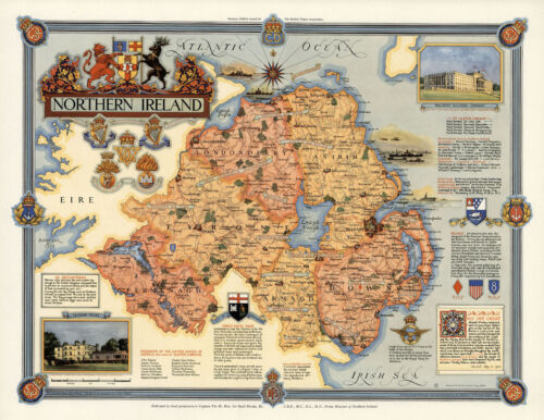 Pictorial Northern Ireland Map Wall Poster Vintage History Home School Office
