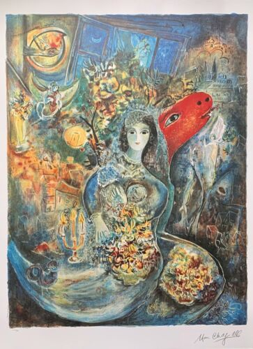"""Marc Chagall BELLA Limited Edition Facsimile Signed Lithograph Art 34"""" x 23"""""""