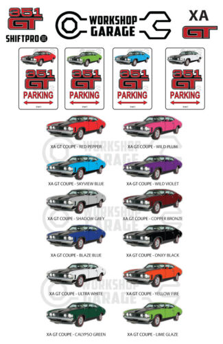 Parking Sign - Metal - Ford XA GT 351 V8 - Coupe Hardtop