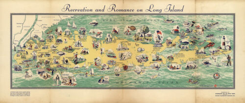 Historical Pictorial Map of Long Island History Wall Art Poster Print Decor