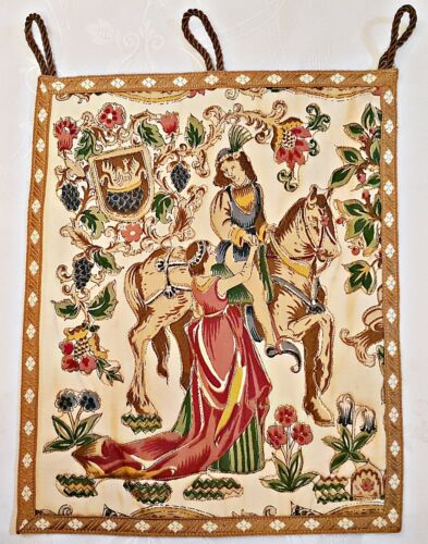 VINTAGE AUTHENTIC RENAISSANCE ART KNIGHT EMBROIDERY BROWN WALL TAPESTRY