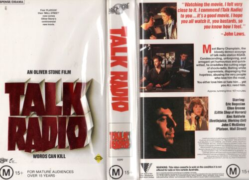 TALK RADIO - Oliver Stone  VHS - PAL - NEW - Never played! - Original Oz release