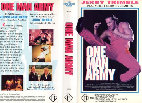 ONE MAN ARMY -VHS -PAL -NEW -Never played!! -Very very rare!-Original Oz release
