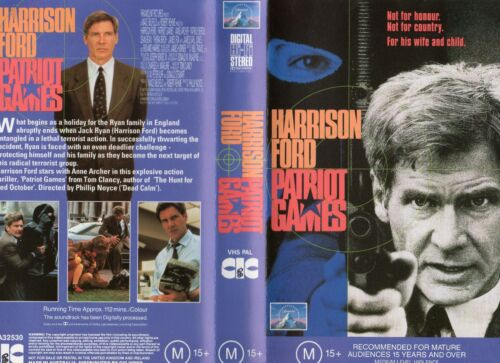 PATRIOT GAMES - Harrison Ford -VHS -PAL -N&S -Never played! -Original Oz release