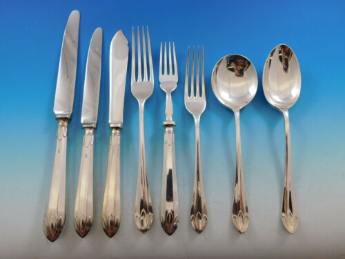 Lotus Orchid Mappin & Webb Sterling Silver Flatware Set Service Dinner 66 pieces