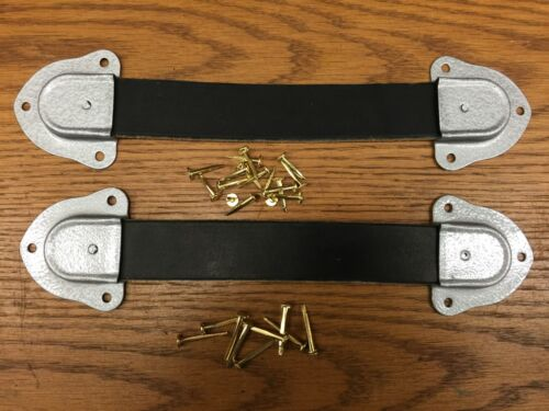 Antique Trunk Hardware- 2 Leather Trunk Handles- 4 Metal Ends-- Nails--B