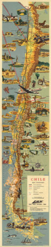 "Chile Mid-century Pictorial Map LARGE 16""x77"" Wall Art Poster Home School Office"