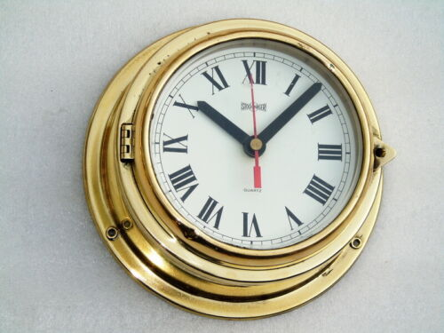 ALL BRASS STOCKBURGER GERMANY SHIPS BOAT YACHT MARINE QUARTZ CLOCK DECK WATCH