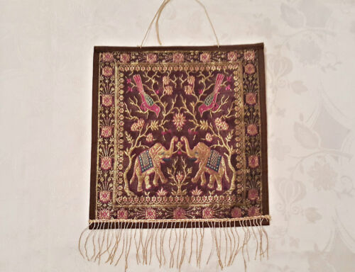 VINTAGE EASTERN ART ELEPHANTS BROWN LAME GOLD TONE PINK JACQUARD WALL TAPESTRY
