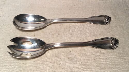 Buccellati Italy Vintage Borgia Sterling Silver 2 Piece Fork Spoon Serving Set