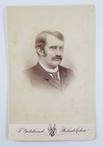 Cabinet Card Photograph Portrait Of A Man With Mustache Philadelphia PA