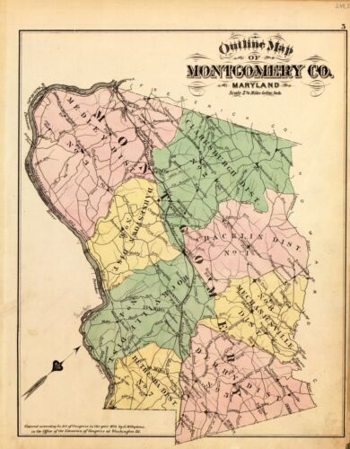1878 Atlas MONTGOMERY COUNTY MARYLAND plat maps GENEALOGY history P69